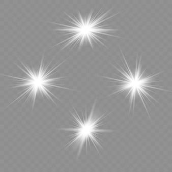 グロー分離白色透明光効果セット、レンズフレア、爆発、キラキラ、ライン、太陽の閃光、火花、星。