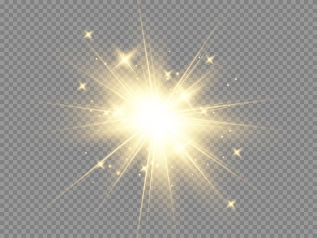 Glow isolated white transparent light effect set, lens flare, explosion, glitter, line, sun flash, spark and stars.