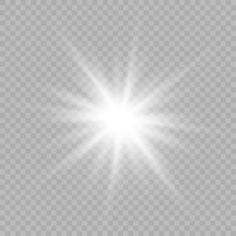 孤立した白い透明な光の効果をグローします。雷で光線を照らす