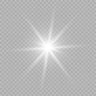 Glow isolated white transparent light effect. shine ray with lightning