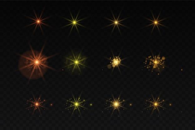 노을 절연 노란색 조명 효과 세트, 렌즈 플레어, 폭발, 반짝이, 라인, 태양 플래시 및 별. 추상 특수 효과 요소 디자인. 번개로 광선을 빛내십시오. 골드 밝고 아름다운 별 세트