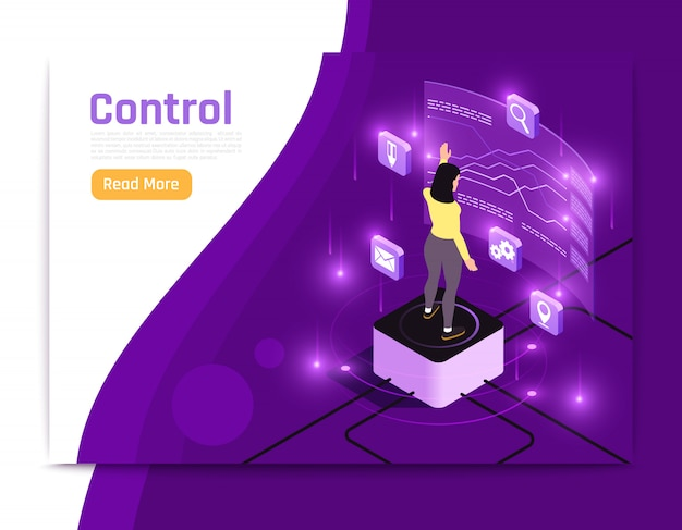 Glow isometric people and interfaces banner with banner control description and read more button vector illustration