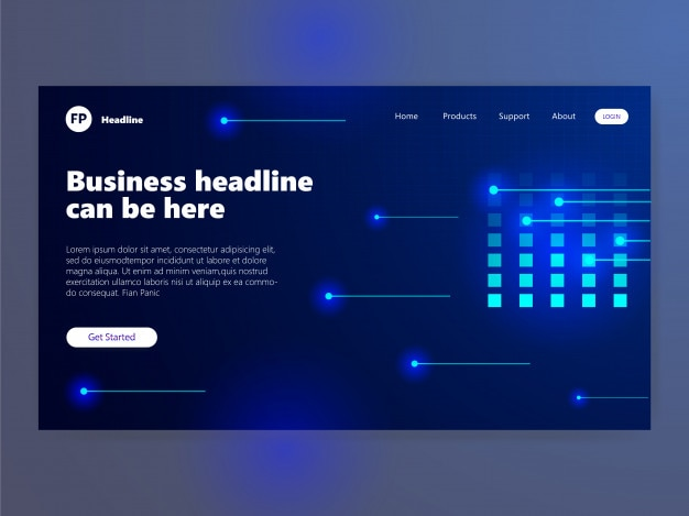 Glow landing page template blue neon