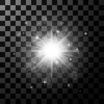 Glow light effect element. star burst with sparkles  on dark transparent background.  illustration