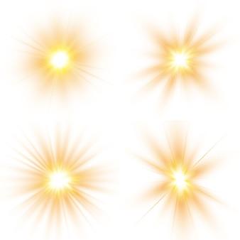 Свечение световой эффект, взрыв, солнечная вспышка. набор ярких звезд.