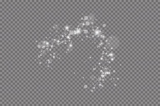 Эффект свечения. иллюстрации. рождественская вспышка. пыль. падающий снег. украшение.
