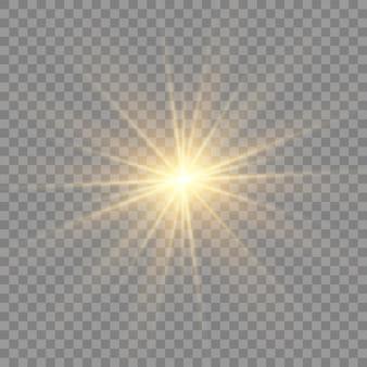 Эффект свечения изолирован. звезда вспыхнула блестками