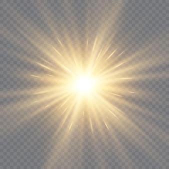 투명 배경에 광선 조명 효과