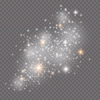 광선 조명 효과. 스파클 절연. 반짝이는 마법의 먼지 입자.