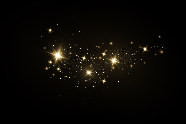 Glow light effect.sparkling magical dust particles.the dust sparks and golden stars shine with.