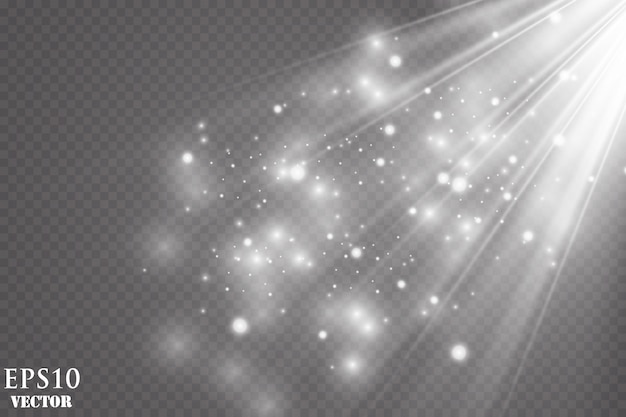 Эффект свечения. искры и блеск специальный световой эффект. сверкает на прозрачном фоне. сверкающие частицы волшебной пыли