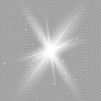 グローライト効果。スターバースト、太陽光イラスト