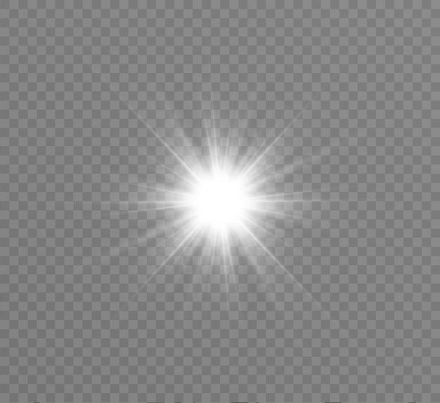 Эффект свечения. звезда вспыхнула блестками. иллюстрация