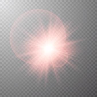 광선 조명 효과. 반짝임으로 스타 버스트. 반짝이는 마법의 먼지 입자. 밝은 별. 투명한 빛나는 태양