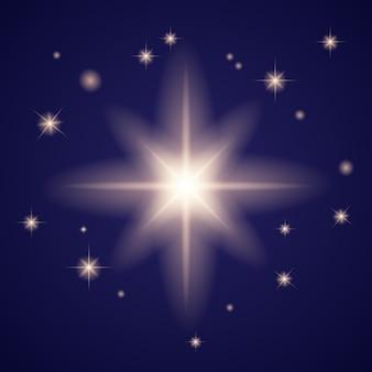 광선 조명 효과. 반짝임으로 스타 버스트. 반짝이는 마법의 먼지 입자. 밝은 별.