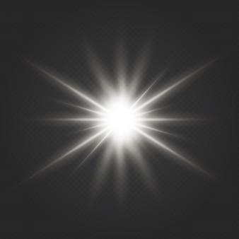 グローライト効果。キラキラとスターバースト。透明なグローライト効果。キラキラとスターバースト。