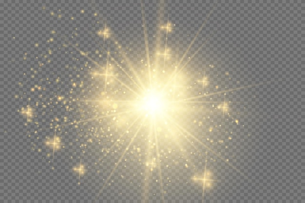 광선 조명 효과입니다. 반짝임으로 스타 버스트. 해.