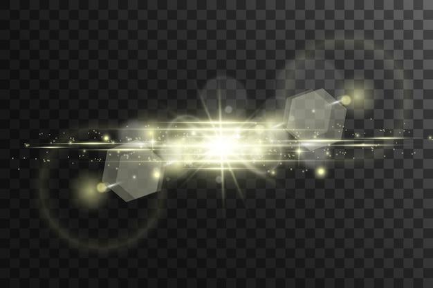 グローライト効果。きらめきで星がはじける。