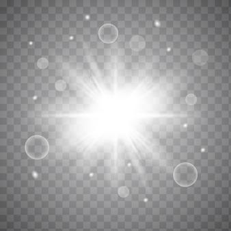 광선 조명 효과. 반짝임으로 스타 버스트. 흰색 빛나는 빛. 반짝이는 마법의 먼지 입자. 밝은 별. 투명한 빛나는