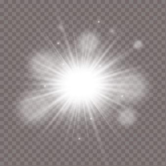 광선 조명 효과. 반짝임으로 스타 버스트.
