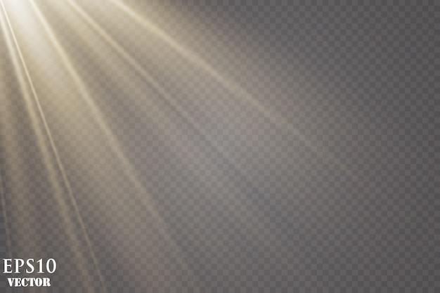 グローライト効果。スターバースト。輝く太陽光線。