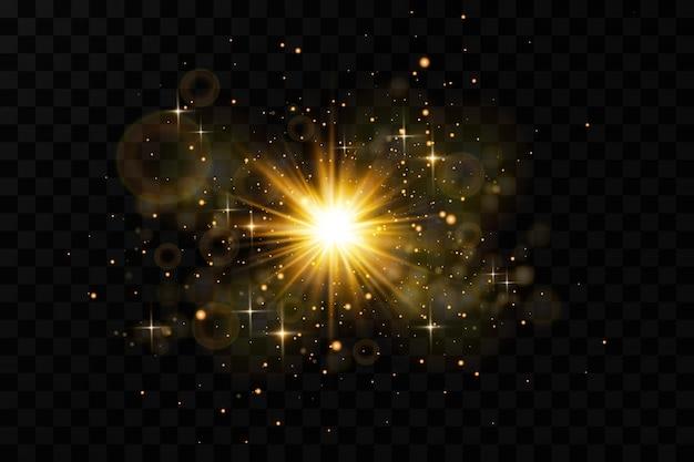 광선 효과. 반짝 배경으로 항성입니다.