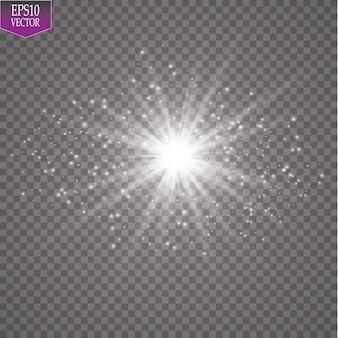 광선 조명 효과. 투명 배경에 반짝임과 항성. 삽화.