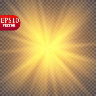 グローライト効果。透明な背景の上で輝きスターバースト。 。太陽