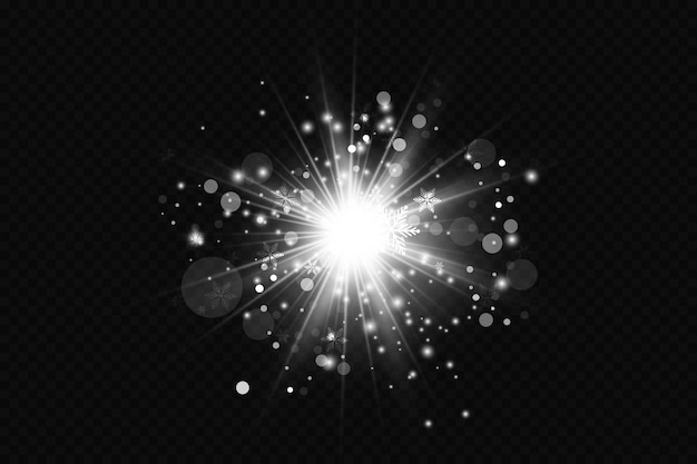 グローライト効果。透明な背景にキラキラと輝くスターバースト。太陽