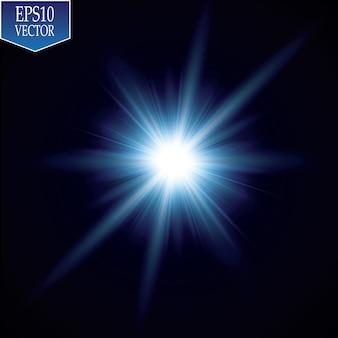 광선 효과. 투명 배경에 반짝 항성. 벡터 일러스트입니다. 태양