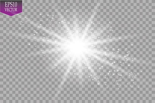 광선 조명 효과. 투명 배경에 반짝임과 항성.