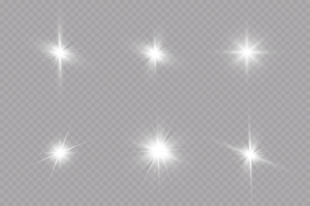 Glow light effect. starburst with sparkles on transparent