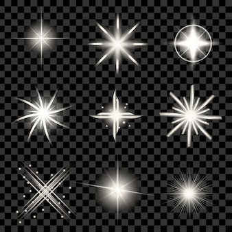 Glow light effect stars bursts with sparkles.