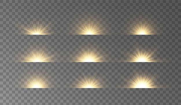Glow light effect, stars, explosion. set of glowing horizontal sunlight.
