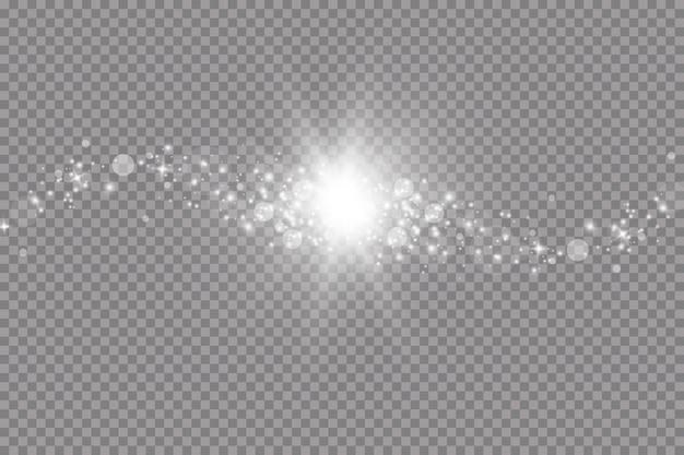 Эффект свечения. векторная иллюстрация. рождественская вспышка. пыль. падающий снег. украшение.