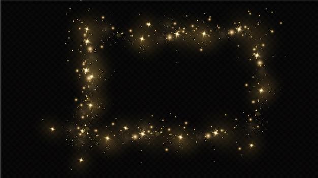광선 조명 효과. 벡터 반짝임. 반짝이는 마법의 먼지 입자. 먼지 스파크와 황금빛 별이 특별한 빛으로 빛납니다.