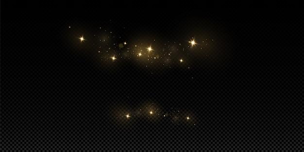 Эффект свечения. вектор блестки. сверкающие частицы волшебной пыли. искры пыли и золотые звезды сияют особым светом.