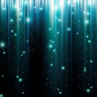 線とキラキラ粒子と光の動きの抽象的な青い背景を輝きます。
