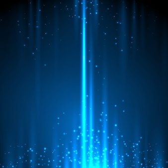 Glow light motion  abstract blue background with lines and glitter particles.