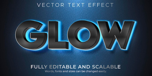 Эффект свечения текста, редактируемый стиль текста неонового света