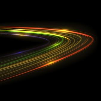Эффект следа свечения. светящийся след вспышки изолированные