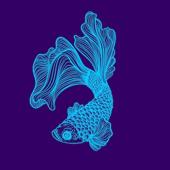 Glow lineart neon color of fish