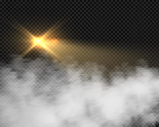 연기가 나는 오토바이 헤드라이트. 흐린 안개와 신호 노란색 조명입니다. 투명 한 배경에 고립 된 안개에 벡터 조명 효과