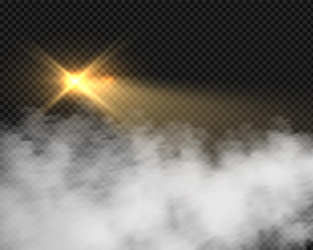 Glow motorcycle headlight in smoke. beacon yellow lights with blurred mist. vector light effect in fog isolated on transparent background