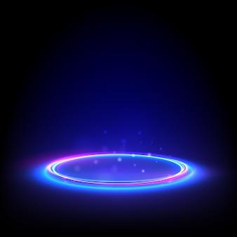 ネオンサークルを光らせます。床に青い光るリング。ディスプレイ製品の抽象的なハイテク背景。