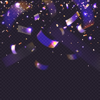 Glow neon confetti on transparent background. 3d falling glitter tinsel. rainbow iridescent particles.