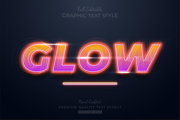Glow neon gradient text effect editable premium font style