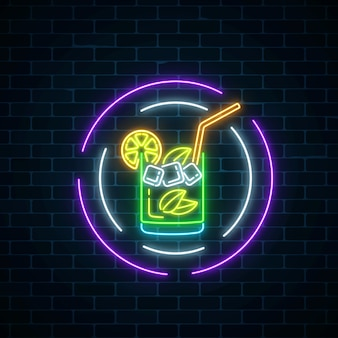 Glow neon symbol of cocktails bar in round frames on dark brick wall background. glowing caipirinhas shake.