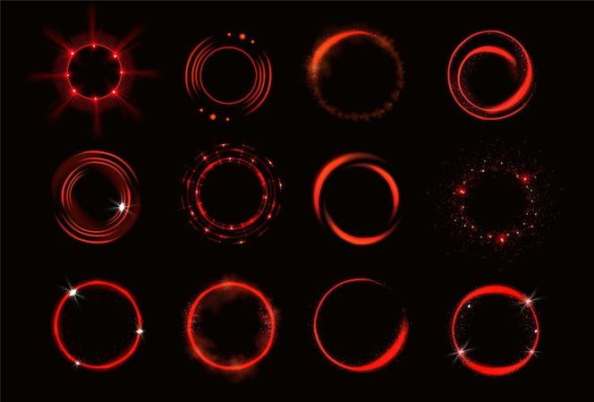 焕发红色圆圈与闪闪发光和烟雾
