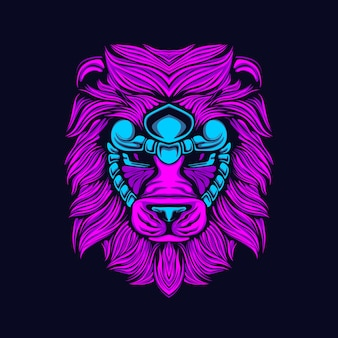 Glow style lion artwork